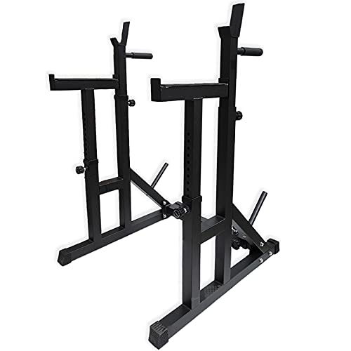 Fully Adjustable Heavy Duty Squat Rack With Multi Position Spotter, Dip Bars & Weight Plate Holders