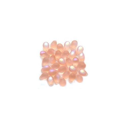 50 Pink AB Czech Glass Flower Beads 8MM