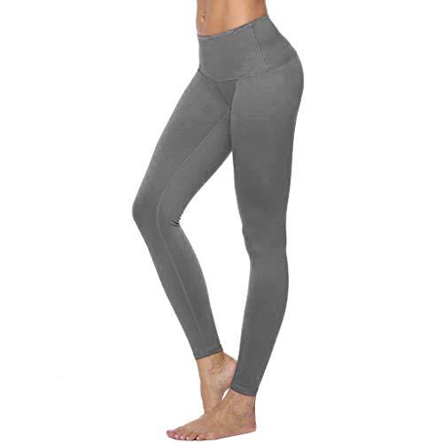 Élastique Stretch Pantalon De Yoga Femmes, Taille Haute Casual Pantalon De Yoga De Couleur Unie Entraînement De Course À Pied Sport Leggings Pantalon Noir Rouge Gris S-XXL(Small,Gris)