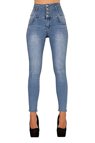 Glook Mujer Pantalones Vaquero Skinny Push Up Pantalones Elástico Jeans Cintura Alta | Jeggings...
