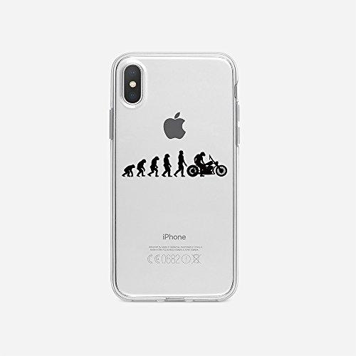 licaso Handyhülle kompatibel für Apple iPhone X I Schutzhülle aus TPU mit Evolution zum Motorradfahrer Print I Transparente Hülle Handy Aufdruck I Weich Silikon Durchsichtig