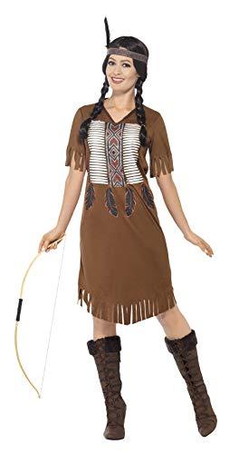 Smiffys 45976L - Damen Indianer Kämpferin Prinzessinnen Kostüm, Kleid und Haarband, Größe: 44-46, braun