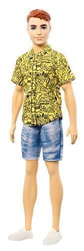 Barbie Fashionista Muñeco Ken Pelirrojo y Camiseta Amarilla con Dibujo (Mattel GHW67)...