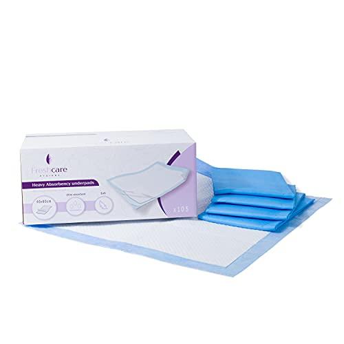 FRESHcare - Protector de cama desechable ultraabsorbente para fugas orinarias 100 unidades + 5 unidades de 40 x 60 cm (105)