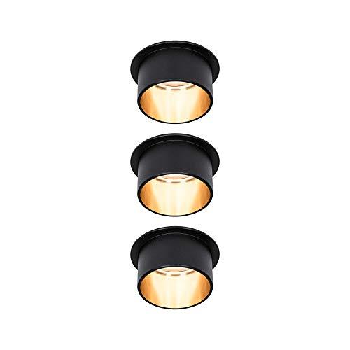 Paulmann Gil 93379 - Foco led empotrable (3 pasos de intensidad regulable, redondo, incluye 3 bombillas de 6 W, 2700 K), color negro mate y dorado