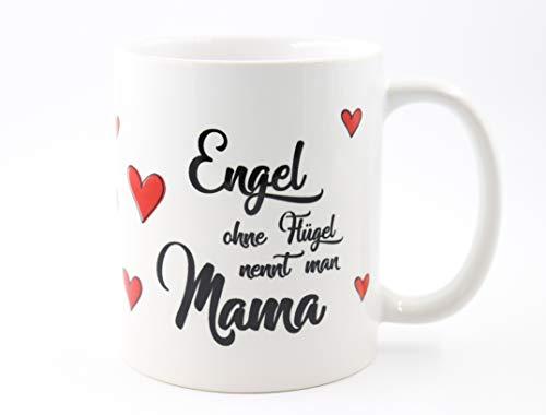 PICSonPAPER Tasse mit Spruch Engel ohne Flügel nennt Man Mama, Muttertagsgeschenk, Kaffeetasse, Keramiktasse, Tasse mit Spruch, Tasse Mama, (Engel)
