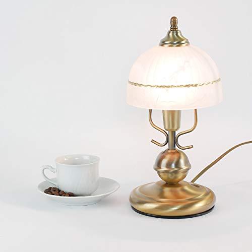 Jugendstil Tischleuchte in Bronze Weiß Alabasterglas E14 mit Kabelschalter Nachttischlampe Tischlampe Schlafzimmer