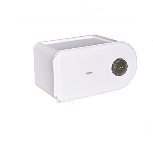 Caja para Pañuelos de Papel Caja de dispensador de tejido multifuncional de plástico rectangular de plástico rectangular con interruptor semiautomático puede registrar la fecha del período menstrual C