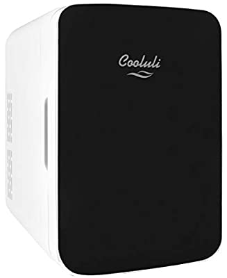 Cooluli Infinity Black 10 Liter Compact Portable Cooler Warmer Mini Fridge for Bedroom, Office, Dorm, Car - Great for Skincare & Cosmetics (110-240V/12V)