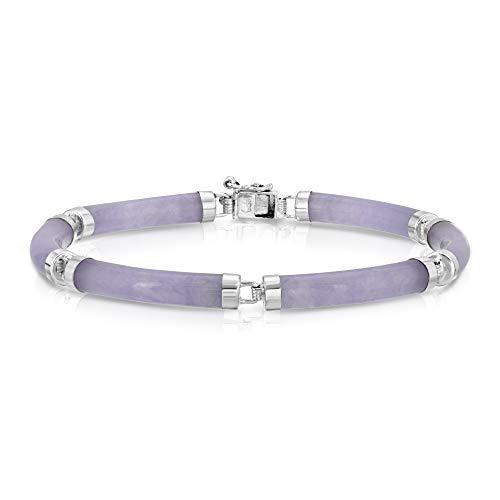 Regalia by Ulti Ramos Lavender Jade Tube Link Bracelet in Sterling Silver 7