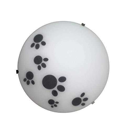 ONLI Plafoniera in Vetro Bianco Satinato diam 25cm Decorata con Piccole Impronte di Animale