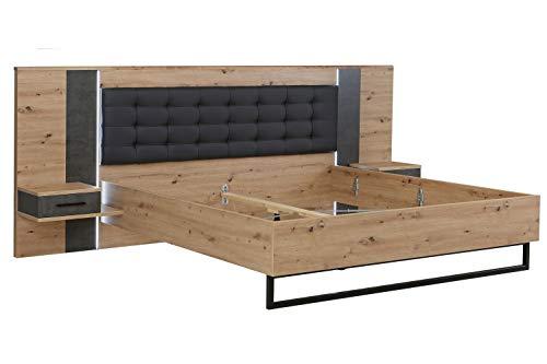 Bettanlage Bettgestell Doppelbett | 180 x 200 cm | Dekor | Artisan Eiche | Betonoptik | LED-Beleuchtung