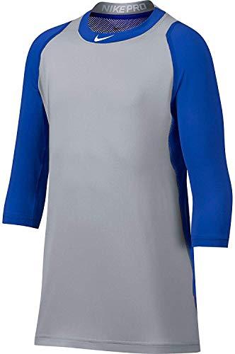 Nike Boys' Pro Cool Reglan ¾-Sleeve Baseball Shirt (Royal/Grey, M)