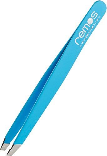 remos - pinzette per le sopracciglia in acciaio inox con rivestimento azzurro - punta obliqua - 9 cm