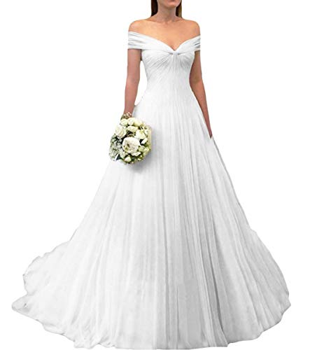 Awishwill Women's A Line Simple Bridal Gowns Long Bride Off The Shoulder Wedding Dresses AD43 White-US2