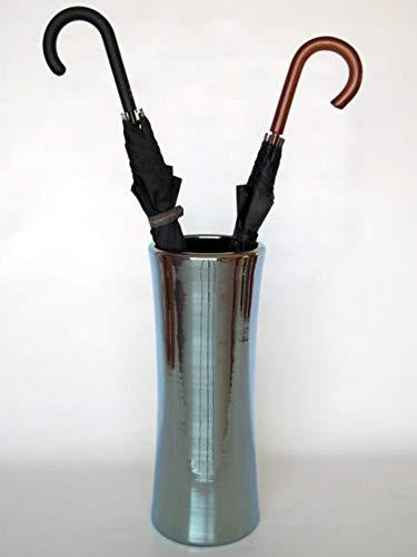 POLONIO - Paraguero de Ceramica Plata de 50 cm - Bastonero de Ceramica para Entrada y Pasillo - Jarron de Ceramica Grande Color Plata.