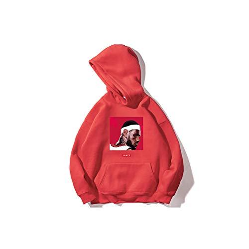 WLKDMJ James Basketball Jersey roter Pullover für Männer und Frauen, Kindersport-Kapuzenpullover plus Samtanzug, Baumwollmaterial, weiche Textur (S-3XL)-XXL