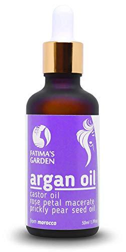 Serum capilar con aceite de argán de Fatima's Garden 100% natural, con aceite de ricino, comino negro, pétalos de rosa macerados, aceite de semilla de higo chumbo de primera prensada-50ml