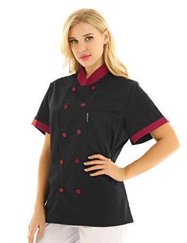 IEFIEL Camisa de Cocinero Camiseta Manga Corta Cuello Mandarín Unisexo para Hombre Mujer Chaqueta Chef con Botónes Uniforme de Cocina Hotel Restaurante Negro X-Large