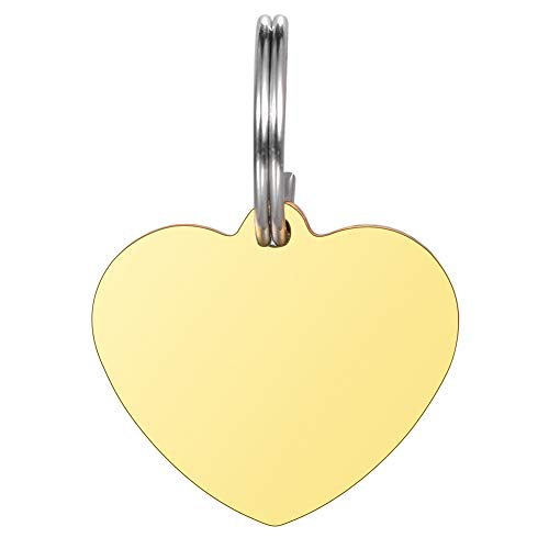 Valyria Heart Pet Id Tag Stainless Steel Personalized Small Pet Id Tags for Dogs & Cats,Gold