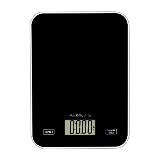 Peso Cocina Digital Acero Inoxidable 5 kg / 1g Pantalla LCD para Peso de Comida Unidades Convertibles Función de Tara Balanza de Alimentos Multifuncional Plata,Blanco,Negro