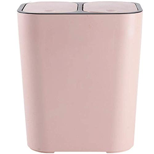 YGB Mode Dubbele Cover Prullenbak, Afval Classificatie Afvalbak Container Plastic met Drukring Anti-geur Geschikt voor Slaapkamer Woonkamer Keuken-15L-Roze
