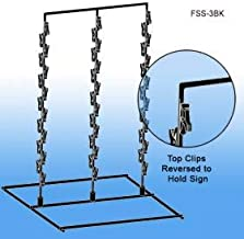 Free Standing Metal Snack Rack - Black -3 Wand, 42 Hooks | Clip Strip Model FSS-3BK | Retail Display Rack Black Metal Provision for Signs