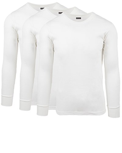 Andrew Scott Men's 3 Pack Premium Cotton Thermal Top Base Layer Long Sleeve Crew Neck Shirt (3XL, 3 Pack - Warm White)