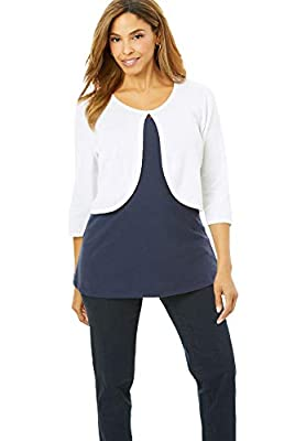 Jessica London Women's Plus Size Curved Hem Sweater Shrug - 30/32, White from Jessica London