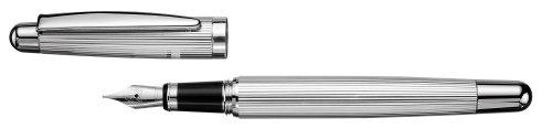 Otto Hutt 018-61046 Füllfederhalter-M Design 02, Streifenmuster, platinierte Beschläge, silber