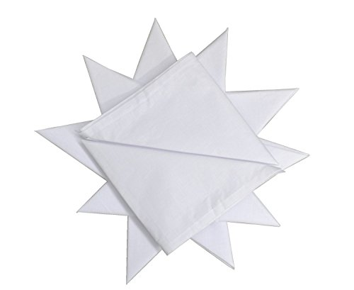 Paquete de 12 pañuelos 100% algodón Blanco para Hombre, 40 cm x 40 cm