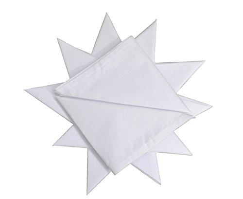 Paquete de 12 pañuelos para Hombre, 100% algodón, 40 x 40 cm, Color Blanco