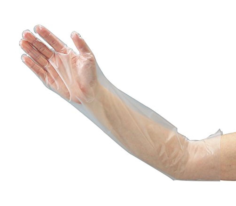 揃えるみなさんサーキュレーションオルディ 使い捨て 手袋 M 透明 全長58cm 手の平まわり28cm 厚み0.04mm ひじピタ ロング 使いきり HLT-NM-100 100枚入