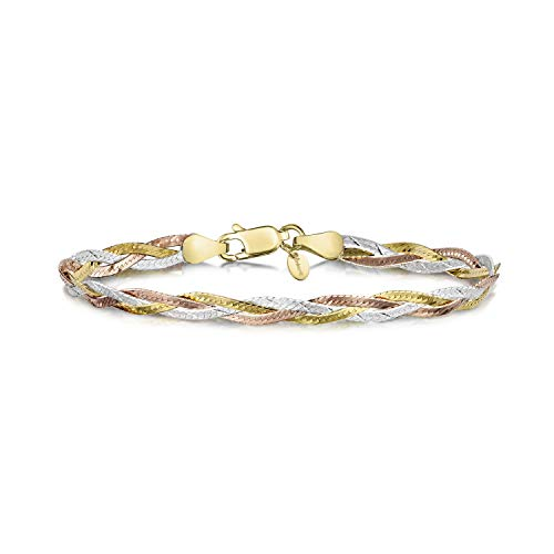 Amberta 925 Sterlingsilber Armkette - Herringbone-Kette Armband - Fischgrätkette - 5 mm Breite - 19 cm (19cm)