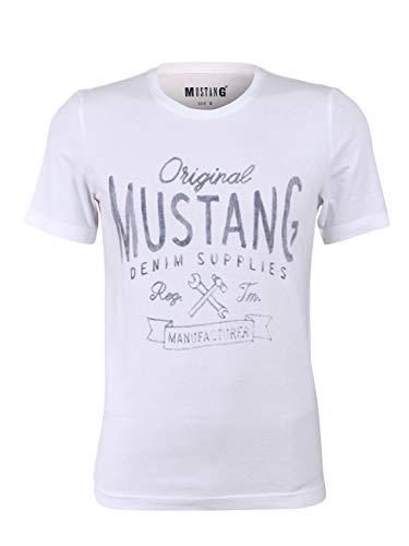 MUSTANG Herren T-Shirt Rundhals Kurzarm Logo Print Baumwolle Schwarz Weiß Blau Grau S M L XL 2XL 3XL, Größe: M, Ausführung: Denim Supplies (General White)