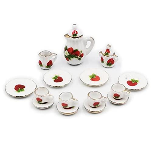 15 unids/set 1:12 casa de muñecas de cerámica en miniatura vajilla de porcelana de café taza de té Set Vintage plato comedor Ware decoración casa de muñecas Accesorios de cocina