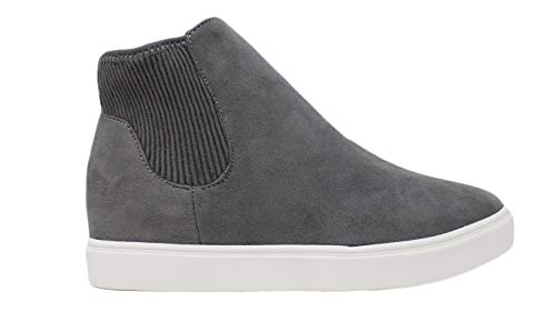 Soda Womens Fetch Round Toe Low Heel Elastic Ankle Fashion Sneakers (Grey, Numeric_7_Point_5)