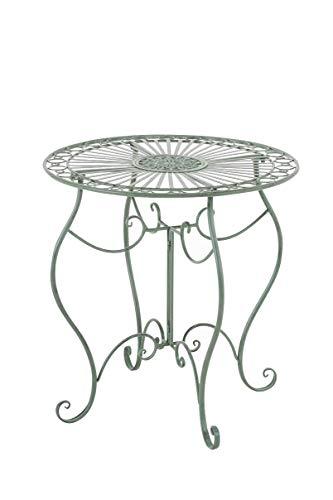 CLP Table de Jardin Ronde Indra avec Diamètre Ø 70 cm   Table en Fer Forgé pour Usage Extérieur au Jardin, sur la Terrasse ou au Balcon   Piètement Galbé en Métal, Couleur au Choix: Vert Antique