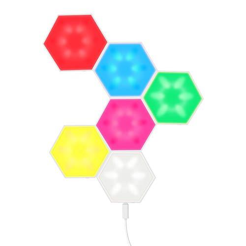 6 Stück Spleißen RGB-Leuchten, Sechseckige USB Ladung Berührungsempfindliche Modulare Wandleuchten Kreative DIY Magnetic Attraction Geometry Nachtlampe für Wohnkultur, Geschenk