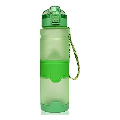 LPWCAWL Deportes Agua Botella de Gran Capacidad Copa de plástico Copa Esmerilada Copa de Espacio Al Aire Libre Montar Fitness Botella de Deportes,Verde,380ml
