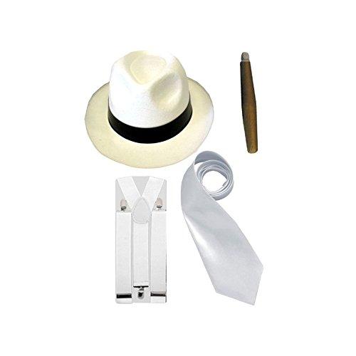 Henbrandt Gangster-Kostüm Herren - Hut/Krawatte/Hosenträger/Zigarre - 20er Jahre - Weiß