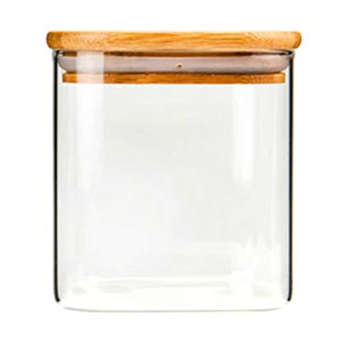 12che 2er Glas Vorratsdosen Quadratischer luftdichter Glasbehälter transparenter Vorratsbehälter Lebensmittel Vorratsglas mit Deckel für Küche - 550ml