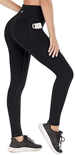 Heathyoga Pantalones de yoga extra suaves con bolsillos para mujeres, no transparentes, elásticos, cintura alta, leggings de entrenamiento para niñas, Mujer, color H7540 Negro, tamaño XS