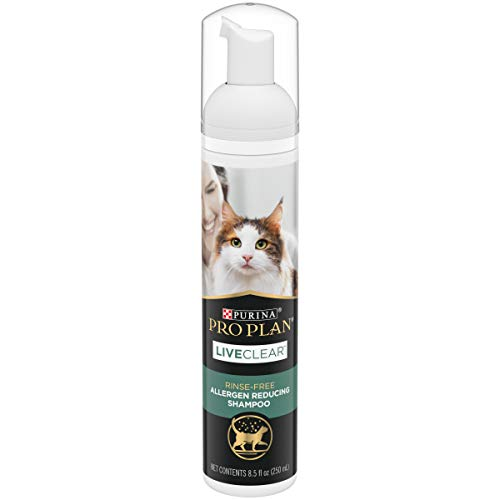 Purina Pro Plan Rinse Free, Allergen Reducing Dry Shampoo for Cats, LIVECLEAR Cleansing Foam - 8.5 oz.