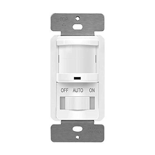 TOPGREENER TSOS5-White in Wall PIR Motion Sensor Light Switch, Occupancy Sensor Switch, On/Off Override, Single-Pole, Fluorescent 500VA/Motor 1/8Hp/Incandescent 500W, Neutral Wire Required, 1 Pack