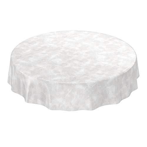 ANRO Mantel de hule lavable, mantel de hule encerado de hormigón urbano, color gris claro, redondo, 120 cm