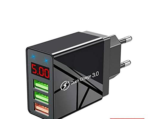 MARSPOWER Cargador USB de 3 Puertos con Pantalla Digital LED Adaptador de Cargador de Enchufe múltiple USB Cargador rápido de Pared para Tableta de teléfono Android iOS - Negro