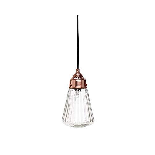 Pendentif Abat-Jour en Verre Celing Cuivre Lampe côtelé Entonnoir lumière Danish Design par Hubsh