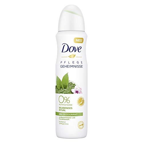 Dove Pflegegeheimnisse Belebendes Ritual Matcha Grüntee und Kirschblütenduft 0 Prozent, Deodorant-Spray, 6er Pack (6 x 150 ml)