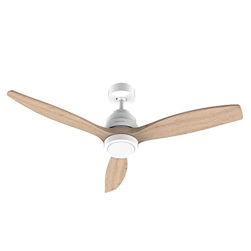Cecotec Ventilador de Techo EnergySilence Aero 5250 White Design. 40 W, Diámetro 132 cm, Motor DC, Luz LED, 6 Velocidades, Temporizador hasta 8h, Mando a distancia, Función invierno, Madera